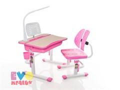 Комплект парта и стульчик Mealux EVO-03 с лампой (Клен, Розовый)