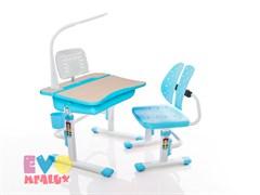 Комплект парта и стульчик Mealux EVO-03 с лампой (Клен, Голубой)