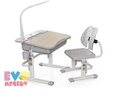 Комплект парта и стульчик Mealux EVO-03 с лампой (Клен, Серый)