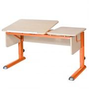 Парта для дома Астек ТВИН-2 (Цвет столешницы:Береза, Цвет боковин:Береза, Цвет ножек стола:Оранжевый)