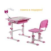 Комплект Cubby парта и стул-трансформеры Karo (Цвет столешницы:Белый, Цвет ножек стола:Розовый)