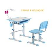 Комплект Cubby парта и стул-трансформеры Karo (Цвет столешницы:Белый, Цвет ножек стола:Голубой)
