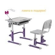 Комплект Cubby парта и стул-трансформеры Karo (Цвет столешницы:Белый, Цвет ножек стола:Фиолетовый)