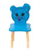Детский стульчик Polli Tolli Джери Киса (Цвет сиденья и спинки стула:Голубой, Цвет каркаса:Береза)