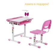 Растущая парта и стул Fundesk Cantare (Цвет столешницы:Розовый, Цвет ножек стола:Белый)
