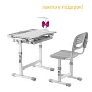 Растущая парта и стул Fundesk Cantare (Цвет столешницы:Серый, Цвет ножек стола:Белый)