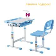 Растущая парта и стул Fundesk Cantare (Цвет столешницы:Голубой, Цвет ножек стола:Белый)
