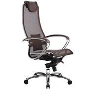 Эргономическое офисное кресло Metta SAMURAI S-1.03 (Цвет обивки:Темно коричневый, Цвет каркаса:Серебро)