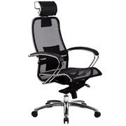 Эргономическое офисное кресло Metta SAMURAI S-2.03 (Цвет обивки:Черный, Цвет каркаса:Серебро)