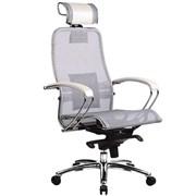 Эргономическое офисное кресло Metta SAMURAI S-2.03 (Цвет обивки:Белый лебедь, Цвет каркаса:Серебро)