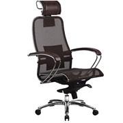Эргономическое офисное кресло Metta SAMURAI S-2.03 (Цвет обивки:Темно коричневый, Цвет каркаса:Серебро)