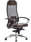 Эргономическое офисное кресло Metta SAMURAI SL-1.03 (Цвет обивки:Темно коричневый, Цвет каркаса:Серебро)