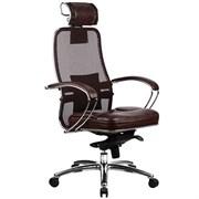 Эргономическое офисное кресло Metta SAMURAI SL-2.03 (Цвет обивки:Темно коричневый, Цвет каркаса:Серебро)