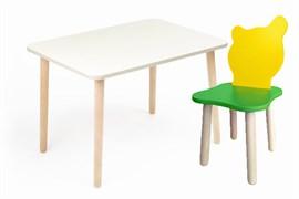 Комплект детской мебели Polli Tolli Джери с белым столиком (Цвет столешницы:Белый, Цвет сиденья и спинки стула:Зелено-желтый)