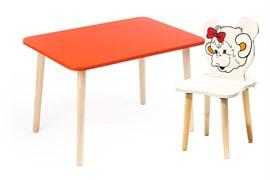 Комплект детской мебели Polli Tolli Джери с красным столиком (Цвет столешницы:Красный, Цвет сиденья и спинки стула:Ваниль)