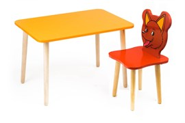 Комплект детской мебели Polli Tolli Джери с оранжевым столиком (Цвет столешницы:Оранжевый, Цвет сиденья и спинки стула:Красный)