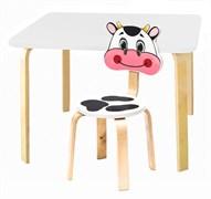 Комплект детской мебели Polli Tolli Мордочки с белым столиком (Цвет столешницы:Белый, Цвет сиденья и спинки стула:Белый)