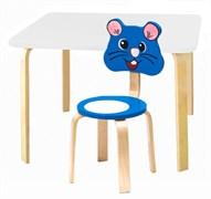 Комплект детской мебели Polli Tolli Мордочки с белым столиком (Цвет столешницы:Белый, Цвет сиденья и спинки стула:Голубой)