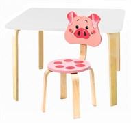 Комплект детской мебели Polli Tolli Мордочки с белым столиком (Цвет столешницы:Белый, Цвет сиденья и спинки стула:Розовый)