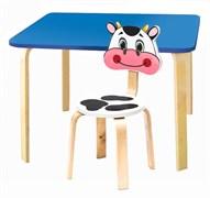 Комплект детской мебели Polli Tolli Мордочки с голубым столиком (Цвет столешницы:Голубой, Цвет сиденья и спинки стула:Белый)
