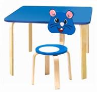 Комплект детской мебели Polli Tolli Мордочки с голубым столиком (Цвет столешницы:Голубой, Цвет сиденья и спинки стула:Голубой)