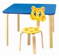 Комплект детской мебели Polli Tolli Мордочки с голубым столиком (Цвет столешницы:Голубой, Цвет сиденья и спинки стула:Желтый)
