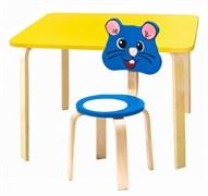Комплект детской мебели Polli Tolli Мордочки с желтым столиком (Цвет столешницы:Желтый, Цвет сиденья и спинки стула:Голубой)