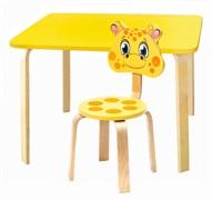 Комплект детской мебели Polli Tolli Мордочки с желтым столиком (Цвет столешницы:Желтый, Цвет сиденья и спинки стула:Желтый)