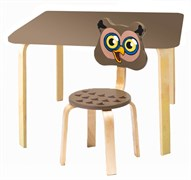 Комплект детской мебели Polli Tolli Мордочки с коричневым столиком (Цвет столешницы:Коричневый, Цвет сиденья и спинки стула:Коричневый)