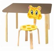 Комплект детской мебели Polli Tolli Мордочки с коричневым столиком (Цвет столешницы:Коричневый, Цвет сиденья и спинки стула:Желтый)