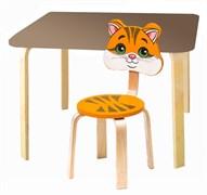 Комплект детской мебели Polli Tolli Мордочки с коричневым столиком (Цвет столешницы:Коричневый, Цвет сиденья и спинки стула:Оранжевый)