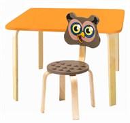 Комплект детской мебели Polli Tolli Мордочки с оранжевым столиком (Цвет столешницы:Оранжевый, Цвет сиденья и спинки стула:Коричневый)