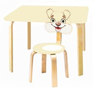 Комплект детской мебели Polli Tolli Мордочки с ванильным столиком (Цвет столешницы:Ваниль, Цвет сиденья и спинки стула:Ваниль)