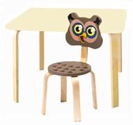 Комплект детской мебели Polli Tolli Мордочки с ванильным столиком (Цвет столешницы:Ваниль, Цвет сиденья и спинки стула:Коричневый)