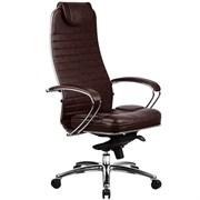 Эргономическое офисное кресло Metta SAMURAI KL-1.03 (Цвет обивки:Темно коричневый, Цвет каркаса:Серебро)