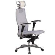Эргономическое офисное кресло Metta SAMURAI S-3.03 (Цвет обивки:Белый лебедь, Цвет каркаса:Серебро)