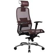 Эргономическое офисное кресло Metta SAMURAI S-3.03 (Цвет обивки:Темно бордовый, Цвет каркаса:Серебро)