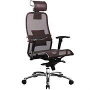 Эргономическое офисное кресло Metta SAMURAI S-3.03 (Цвет обивки:Темно коричневый, Цвет каркаса:Серебро)