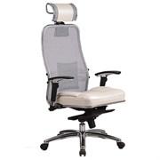 Эргономическое офисное кресло Metta SAMURAI SL-3.03 (Цвет обивки:Белый лебедь, Цвет каркаса:Серебро)