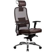 Эргономическое офисное кресло Metta SAMURAI SL-3.03 (Цвет обивки:Темно коричневый, Цвет каркаса:Серебро)