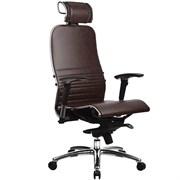 Эргономическое офисное кресло Metta SAMURAI K-3.03 (Цвет обивки:Темно коричневый, Цвет каркаса:Серебро)