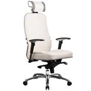 Эргономическое офисное кресло Metta SAMURAI KL-3.03 (Цвет обивки:Белый лебедь, Цвет каркаса:Серебро)