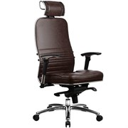Эргономическое офисное кресло Metta SAMURAI KL-3.03 (Цвет обивки:Темно коричневый, Цвет каркаса:Серебро)