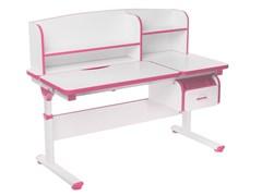 Регулируемая парта FunDesk Creare с выдвижным ящиком и надстройкой (Цвет столешницы:Розовый, Цвет ножек стола:Белый)