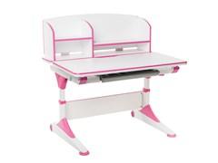 Парта-трансформер для школьника FunDesk Trovare с надстройкой (Цвет столешницы:Розовый, Цвет ножек стола:Белый)