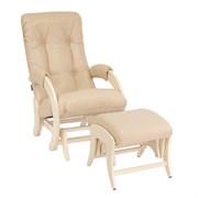Кресло для кормления Milli Smile с пуфом (Цвет обивки:Polaris Beige, Цвет каркаса:Дуб шампань, Материал спинки, сиденья:Искусственная кожа)