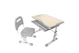 Комплект парта и стул трансформеры Fundesk Vivo (Цвет столешницы:Серый, Цвет ножек стола:Белый)