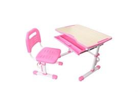 Комплект парта и стул трансформеры Fundesk Vivo (Цвет столешницы:Розовый, Цвет ножек стола:Белый)