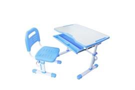 Комплект парта и стул трансформеры Fundesk Vivo (Цвет столешницы:Голубой, Цвет ножек стола:Белый)