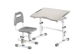 Комплект парта и стул трансформеры Fundesk Vivo 2 (Цвет столешницы:Серый, Цвет ножек стола:Белый)